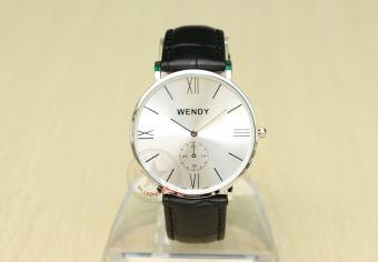 Đồng hồ nam dây da bò vân cá sấu Wendy CH227-1 (Đen mặt bạc)