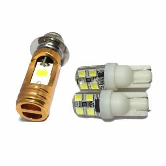 Combo Đèn pha led 2 chân M5 headlight gắn xe máy(ánh sáng trắng) + Xi nhan led bi chớp gắn xe máy (Trắng)