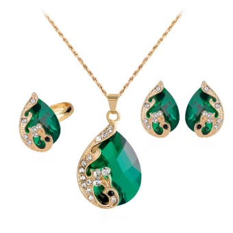 Fancyqube DIY Peacock Exquisite Jewelry Red Stone Rhinestone Decorated Necklace/ Earrings/ Ring Three-piece Jewelry Set Green(White) - intl