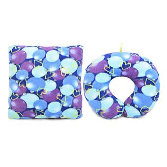 Bộ gối tựa lưng và gối chữ U loại trung 19 THIVI (Bi tím xanh)