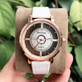 Đồng hồ nữ thời trang ROSIVGA-1 trắng mặt tròn trong suốt