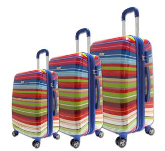 Bộ 3 cái vali kéo nhựa hình 7 sắc siêu nhẹ mở rộng được TA086