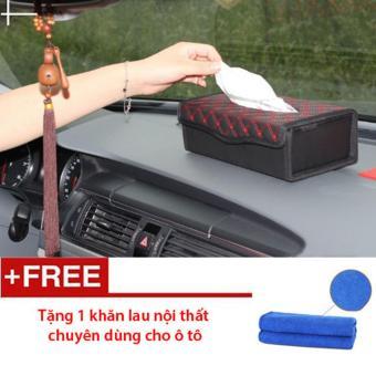 Hộp giả da đựng giấy ăn trên ô tô - Tặng 1 khăn lau nội thất ô tô