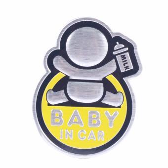Logo Baby In Car dán xe ôtô (vàng-cầm bình sữa)