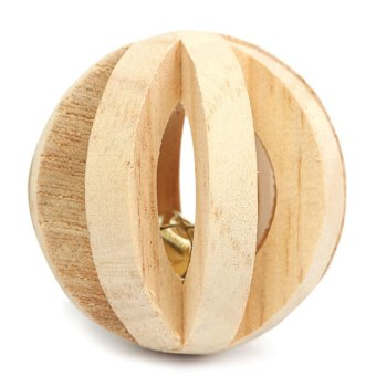 Natural Wood Dumbell Unicycle Bell Roller Chew Toys For Pet Rabbits Hamsters Rat Without Bark Watermelon Balls - intl