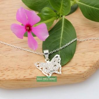 Dây và mặt dây chuyền Bạc Hiểu Minh dmd149 hình con bướm bạc ý