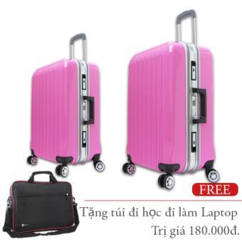 Bộ vali kéo nhựa cứng khung nhôm khóa lẩy đựng 7Kg và 20Kg hồng phấn TA288