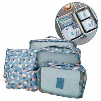 Bộ 6 túi đựng đồ du lịch cao cấp siêu tiện ích (hoa xanh)