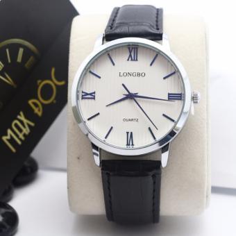 Đồng hồ nam dây da LONGBO LB1114( dây đen mặt trắng)
