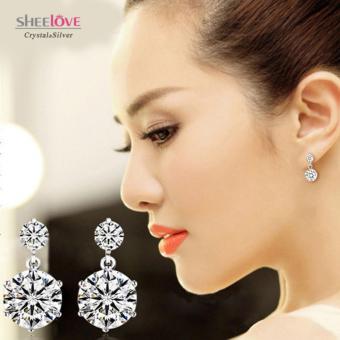 Bông tai bạc tòn ten đá Zircon cao cấp lấp lánh sang trọng phong cách Hàn Quốc SPE-ED028