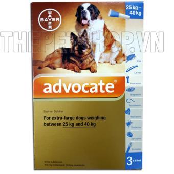 Advocate spot on for dogs 25-40kg-Thuốc trị nội ngoại kí sinh trùng cho chó 25-40kg