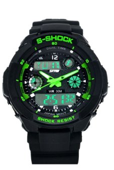 Multi Function Military LED Digital S-Shock Sports Watch - Green