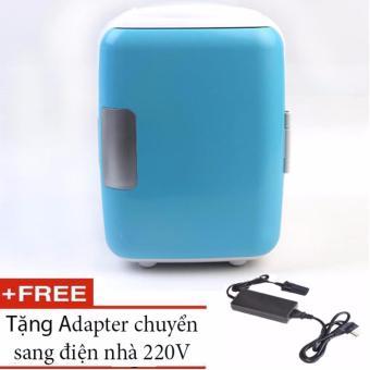 Tủ lạnh mini cho ô tô, xe hơi siêu mát mẫu (xanh da trời) + tặng kèm adapter sử dụng điện nhà