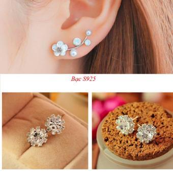 Combo 2 đôi bông tai nữ bạc 925 cành mai trắng và hoa cúc đính đá TPO-CBT17