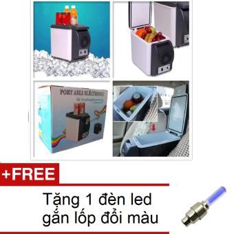 Tủ lạnh mini ô tô du lịch dã ngoại PORT ABLE ELECTRONIC HQ206083 (Trắng) + Tặng 1 đèn led gắn van xe đổi màu 206131