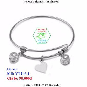 Lắc tay Inox Nữ HQ Trái tim đáng yêu ver2 VT206-1 (TRẮNG)