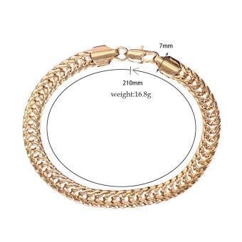 18K Gold Plated Men Thick Solid Color Chain Bracelet(Intl)