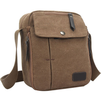 Unisex Canvas Multi-function Outdoor Sport Camping Hiking Travel Small Shoulder Bag Crossbody Bag Message Bag Coffee - intl