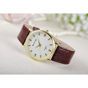 Đồng hồ nữ dây da thời trang Rosivga 6746 (Dây nâu)