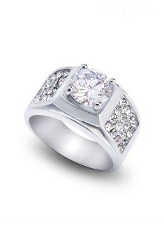 Nhẫn inox nam đính kim cương nhân tạo UHA NN201605