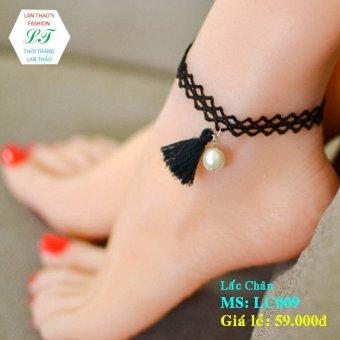 Lắc chân hạt châu xinh LC009 (Đen)