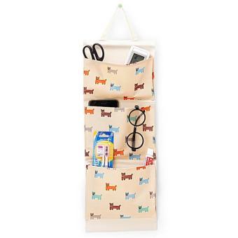 Túi vải 3 ngăn kèm dây treo và thanh gỗ loại mới