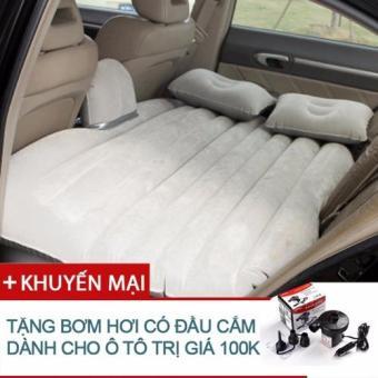Đệm hơi nằm ghế sau cho ô tô kèm bơm hơi ô tô (Màu BE)