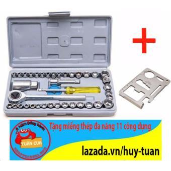 Bộ dụng cụ sửa chữa ô tô 40 món tiện dụng + Free miếng thép đa năng 11 công dụng