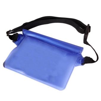Outdoor Waterproof Transparent Waist Bag Swimming Beach Dry Bag For Mobile Phone Blue - intl