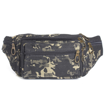 Mens Canvas Camo Fanny Pack Pocket Pouch Purse Belt Camping Waist Bag Bumbag New Camouflage Black - intl