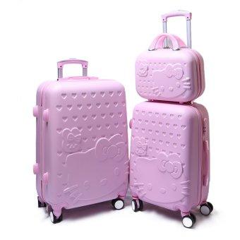 Bộ 3 vali 24 inch + 20 inch và 14 inch hoạ tiết mèo (Hồng)