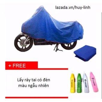 Bạt che phủ xe máy cao cấp chống nước ( Xanh ) + Free dụng cụ lấy ráy tai có đèn màu ngẫu nhiên