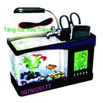 Bể cá mini phong thủy cho bàn làm việc (Đen) + Loa X6u (trắng)