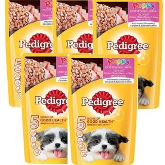 Bộ 5 gói Thức Ăn Cho Chó Con Pedigree Vị Gà Nấu Sốt Chicken Chunks 130gx5 (Mỹ)