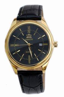 Đồng hồ nam dây da tổng hợp AIMEINI AM001-2 (Đen mặt đen)