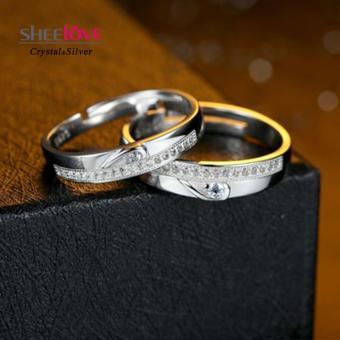 Nhẫn đôi tình yêu trái tim lãng mạn sáng bóng SPR-Q002(Bạc)