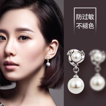 Bông tai nữ bạc mẫu 2 hạt ngọc trai 6mm và 10mm thời trang model2017