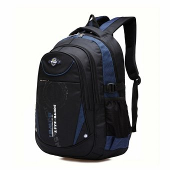 Children Boys Student Waterproof Backpack School Bookbag Rucksack Shoulder Bag Dark Blue - intl