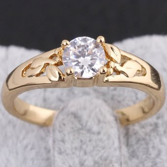 18K Gold Plating Zircon Inlaid Ring 17MM