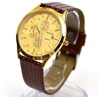 Đồng hồ nam dây da Baishuns BS03( Vàng phối nâu)