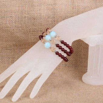 Red Agate Bead Chapagne quare Cryta Braceset - intl
