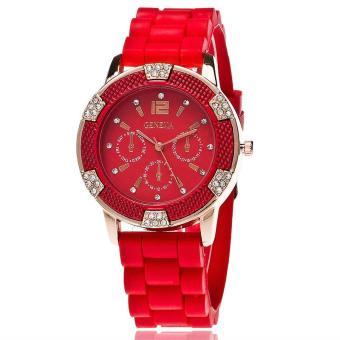 Đồng hồ nữ dây silicon thời trang Geneva 8284 (Đỏ)