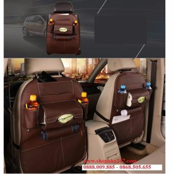 Bộ 1 túi đựng đồ 7 ngăn sau ghế xe hơi đa năng bằng da cao cấp (màu nâu)
