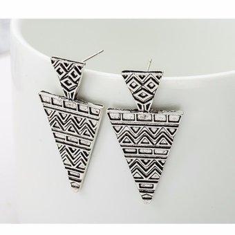 Bông tai tam giác hoa văn cổ Ai Cập màu Bạc