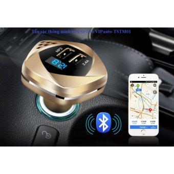 Tẩu sạc thông minh đa năng ( vừa sạc điện , kết nối Bluetooth nghe nhạc MP3..) VIPauto-TSTM01 (gold)