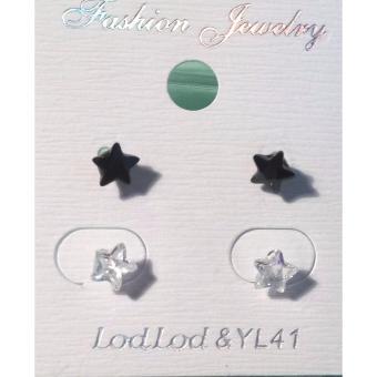 Combo 02 đôi bông tai trắng đen, hình sao, kiểu dáng Hàn Quốc