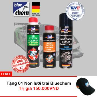 Bộ Sản Phẩm Bluechem Làm Sạch Và Bảo Vệ Động Cơ Diesel tặng Nón Bluechem