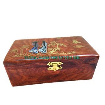 Hộp đựng trang sức và đồ trang điểm gỗ hương cao cấp cẩn xà cừ