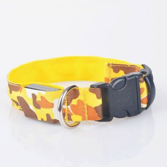 LED Dog Personalised Collar Nylon Pet Light-up Flashing Glow Safety S M L Yellow - intl