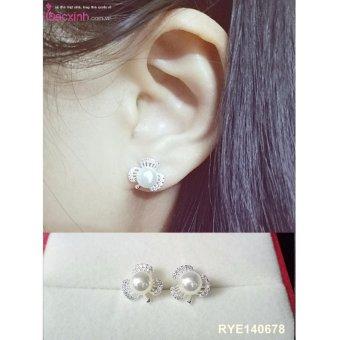 Bông tai nữ trang sức bạc Ý S925 Bạc Xinh - Ngọc trai cỏ ba lá RYE140678